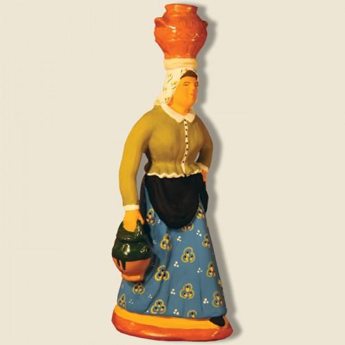image: Woman carrying jars