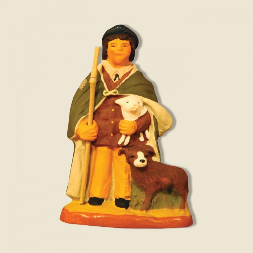 image: Shepherd with lamb and dog