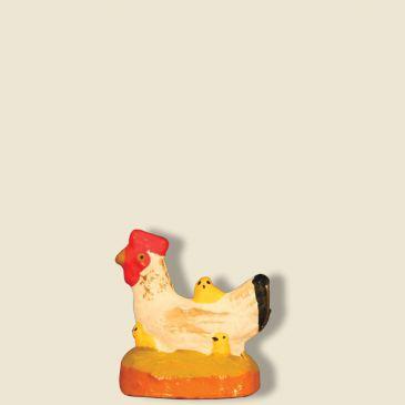 Poule blanche avec poussins 9 cm