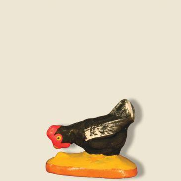 Poule noire qui picore 9 cm