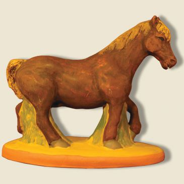 Cheval de trait marron 9 cm