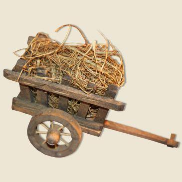 Charette en bois & foin vrac