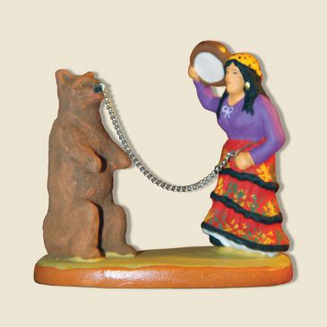 Gypsy woman with a bear