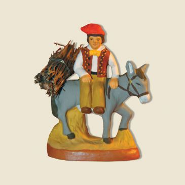 image: Man on a donkey with (bundle of) firewood
