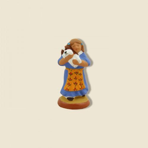 image: Petite fille et son chiot (robe bleue)