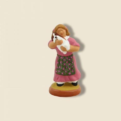 image: Petite fille et son chiot (robe rose)