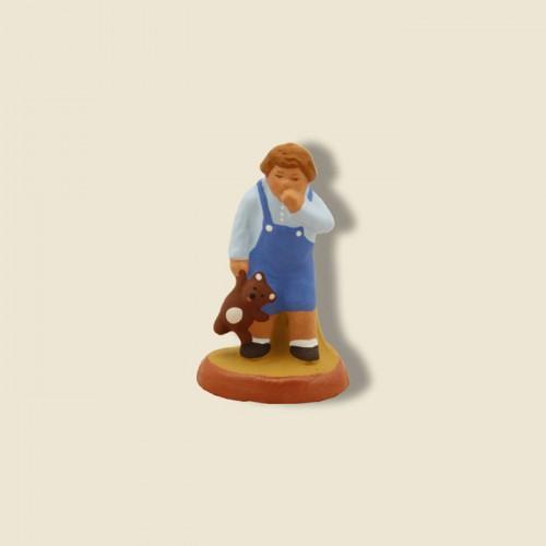image: Petit garçon au nounours (chemise bleue-short bleu)