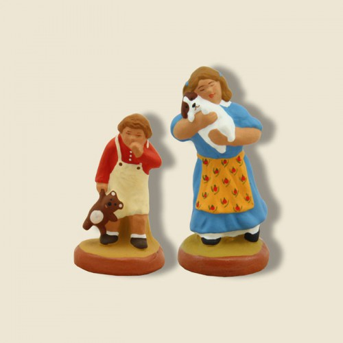 image: Petite fille (bleu) et son frère (rouge)