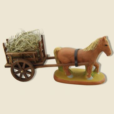 Draft horse and Wood Cart of harness