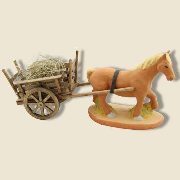 Cheval de trait et Charetton d'attelage en bois 9 cm