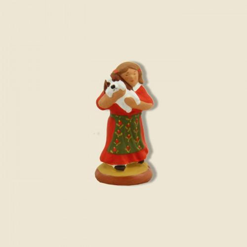 image: Petite fille et son chiot (robe rouge)