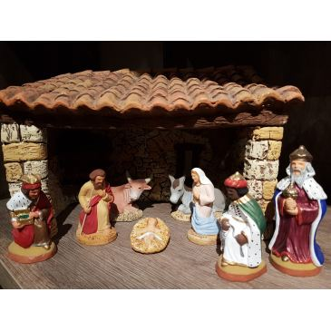 Stable with Nativity set 9 cm