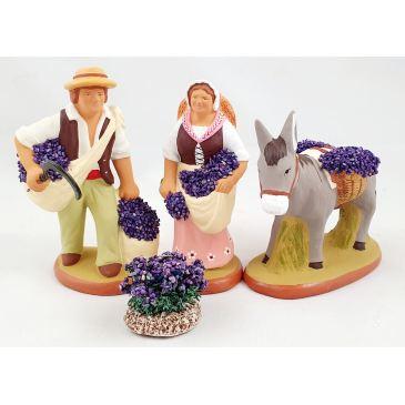 Couple de ramasseurs de lavande et âne 9 cm, pied de lavande