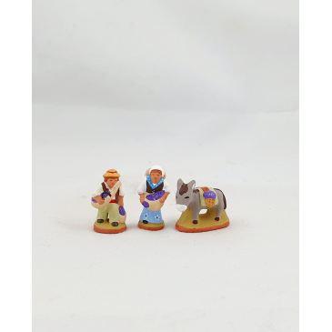 Couple de ramasseurs de lavande et âne 2 cm