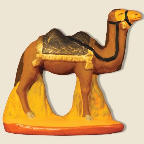 image: Camel standing blue blanket