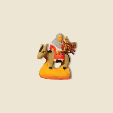 Femme sur âne avec fagot 2 cm