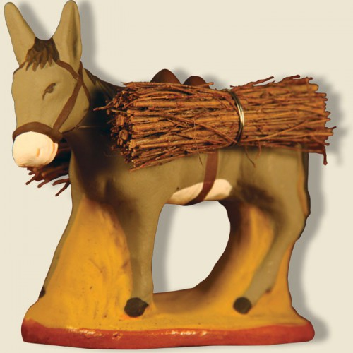 image: Farmer's donkey with wood bundle