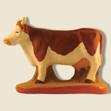 Vache Marguerite marron et blanche 9 cm
