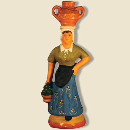 image: Woman carrying jars