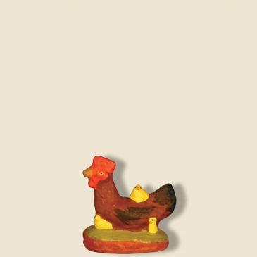 Poule rousse avec poussins 9 cm