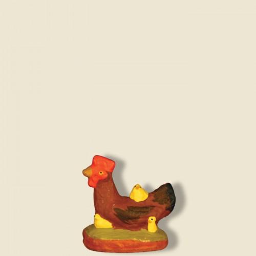 image: Poule rousse avec poussins
