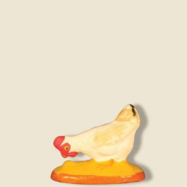 Poule blanche qui picore 9 cm